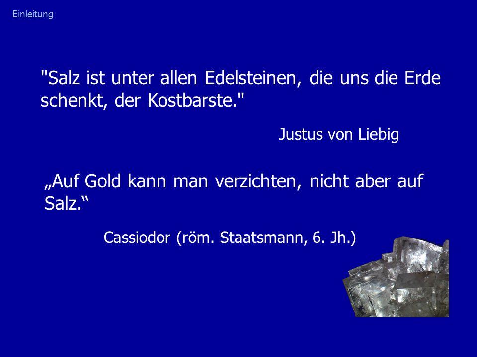"""Salz ist unter allen Edelsteinen, die uns die Erde schenkt, der Kostbarste. Justus von Liebig Einleitung """"Auf Gold kann man verzichten, nicht aber auf Salz. Cassiodor (röm."""