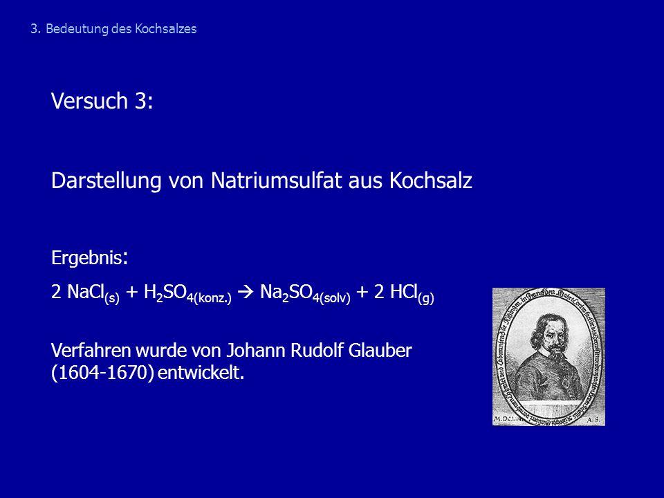 Versuch 3: Darstellung von Natriumsulfat aus Kochsalz Ergebnis : 2 NaCl (s) + H 2 SO 4(konz.)  Na 2 SO 4(solv) + 2 HCl (g) Verfahren wurde von Johann