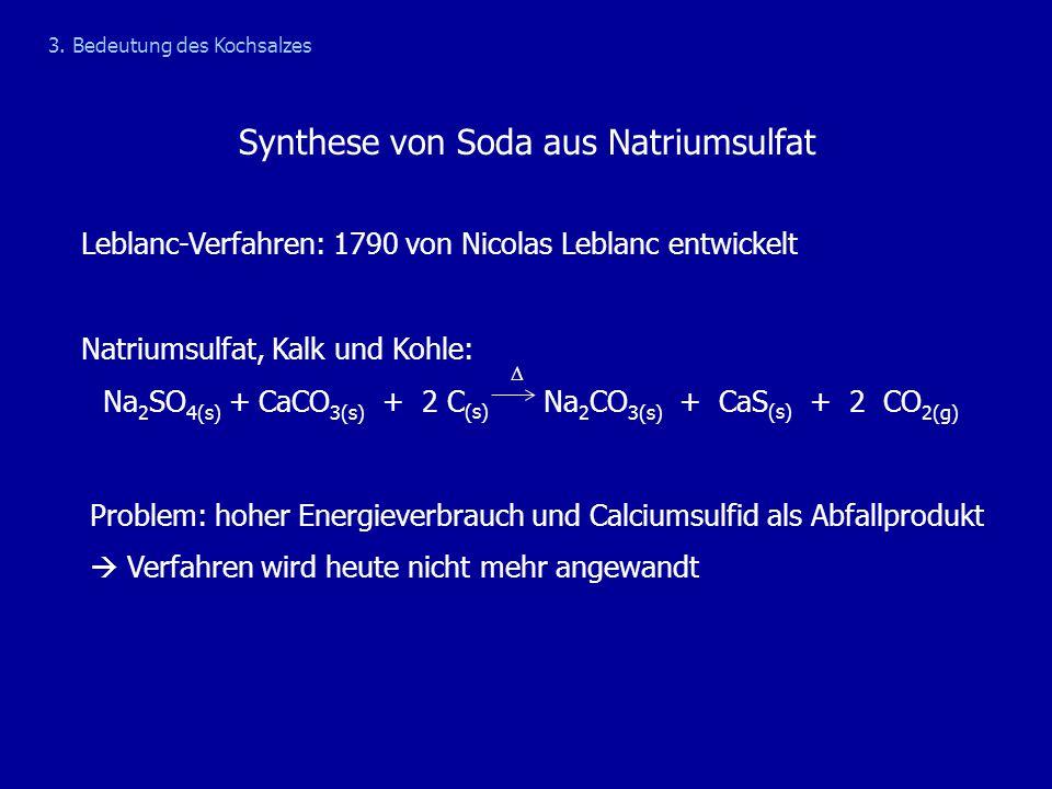 Leblanc-Verfahren: 1790 von Nicolas Leblanc entwickelt Natriumsulfat, Kalk und Kohle: Na 2 SO 4(s) + CaCO 3(s) + 2 C (s) Na 2 CO 3(s) + CaS (s) + 2 CO
