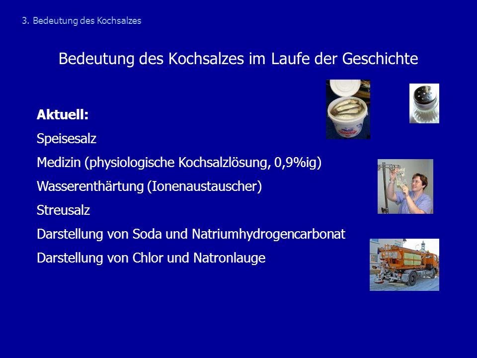 Bedeutung des Kochsalzes im Laufe der Geschichte Aktuell: Speisesalz Medizin (physiologische Kochsalzlösung, 0,9%ig) Wasserenthärtung (Ionenaustausche