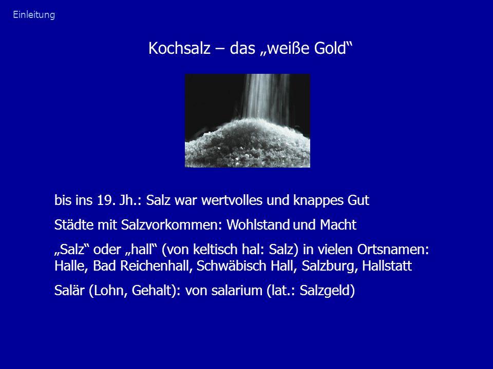 """Kochsalz – das """"weiße Gold Salzhandel: Salzstraßen in Deutschland: Halle  Göttingen  Köln Bad Reichenhall  München  Landsberg  Augsburg Internationaler Salzhandel: Mittelmeer  Asien, Persien, Arabien Salzkriege: 13."""