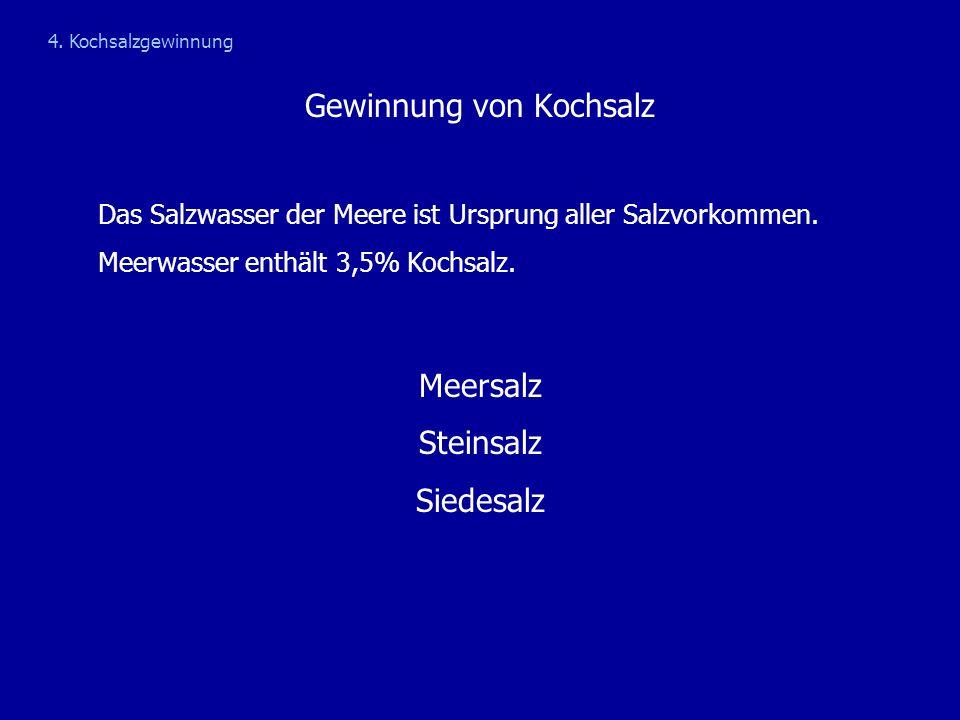 Gewinnung von Kochsalz Das Salzwasser der Meere ist Ursprung aller Salzvorkommen. Meerwasser enthält 3,5% Kochsalz. Meersalz Steinsalz Siedesalz 4. Ko
