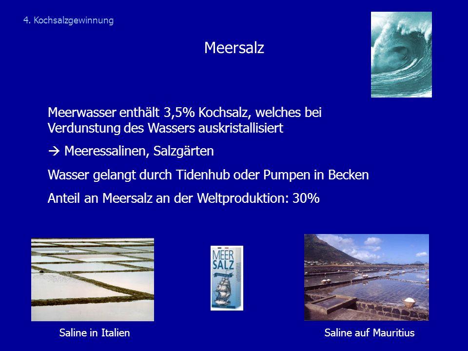 Meersalz Meerwasser enthält 3,5% Kochsalz, welches bei Verdunstung des Wassers auskristallisiert  Meeressalinen, Salzgärten Wasser gelangt durch Tide