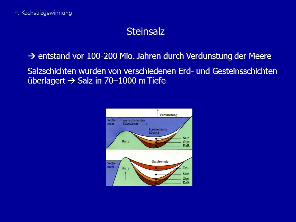 Steinsalz  entstand vor 100-200 Mio. Jahren durch Verdunstung der Meere Salzschichten wurden von verschiedenen Erd- und Gesteinsschichten überlagert