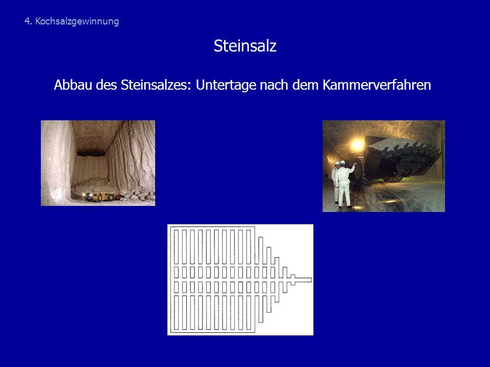 Steinsalz Abbau des Steinsalzes: Untertage nach dem Kammerverfahren 4. Kochsalzgewinnung