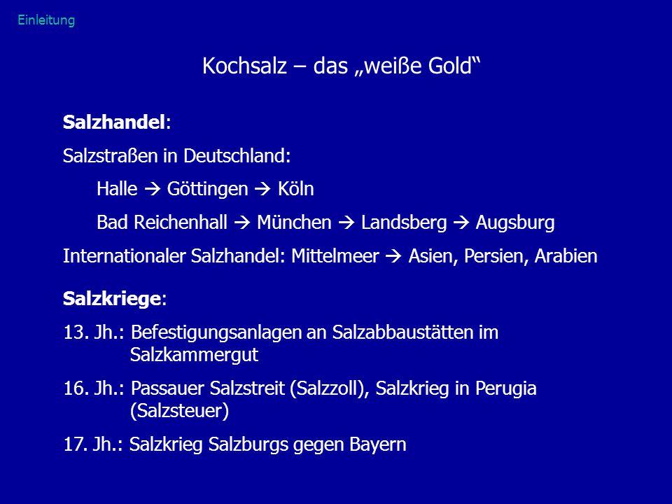 """Kochsalz – das """"weiße Gold"""" Salzhandel: Salzstraßen in Deutschland: Halle  Göttingen  Köln Bad Reichenhall  München  Landsberg  Augsburg Internat"""