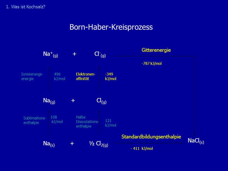 Bildung eines Ionengitters  Freiwerdende Gitterenergie ist für Wärme- und Lichtentwicklung bei der NaCl-Synthese verantwortlich  Gitterenergie stabilisiert Ionenkristall  Triebkraft der Reaktion ist Bildung stabiler Ionenkristalle und nicht die Tendenz zur Erreichung der Edelgaskonfiguration 1.