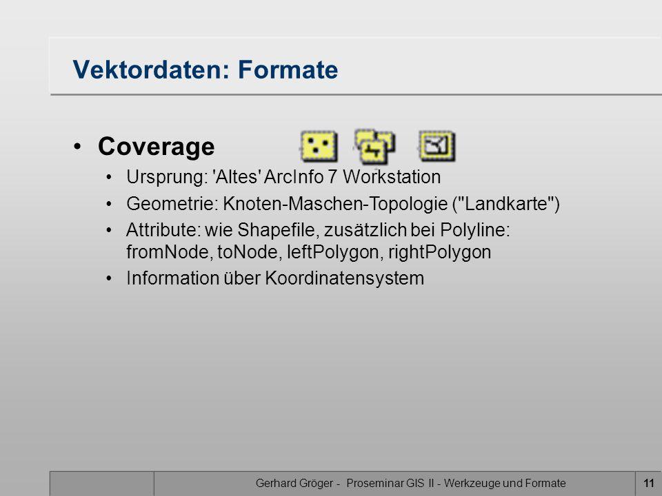 Gerhard Gröger - Proseminar GIS II - Werkzeuge und Formate11 Vektordaten: Formate Coverage Ursprung: Altes ArcInfo 7 Workstation Geometrie: Knoten-Maschen-Topologie ( Landkarte ) Attribute: wie Shapefile, zusätzlich bei Polyline: fromNode, toNode, leftPolygon, rightPolygon Information über Koordinatensystem