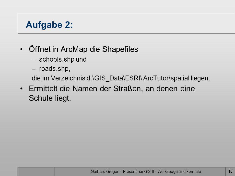 Gerhard Gröger - Proseminar GIS II - Werkzeuge und Formate15 Aufgabe 2: Öffnet in ArcMap die Shapefiles –schools.shp und –roads.shp, die im Verzeichnis d:\GIS_Data\ESRI\ ArcTutor\spatial liegen.