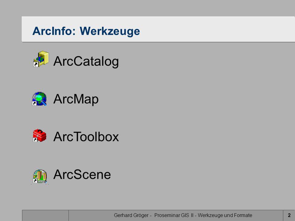 Gerhard Gröger - Proseminar GIS II - Werkzeuge und Formate2 ArcInfo: Werkzeuge ArcCatalog ArcMap ArcToolbox ArcScene