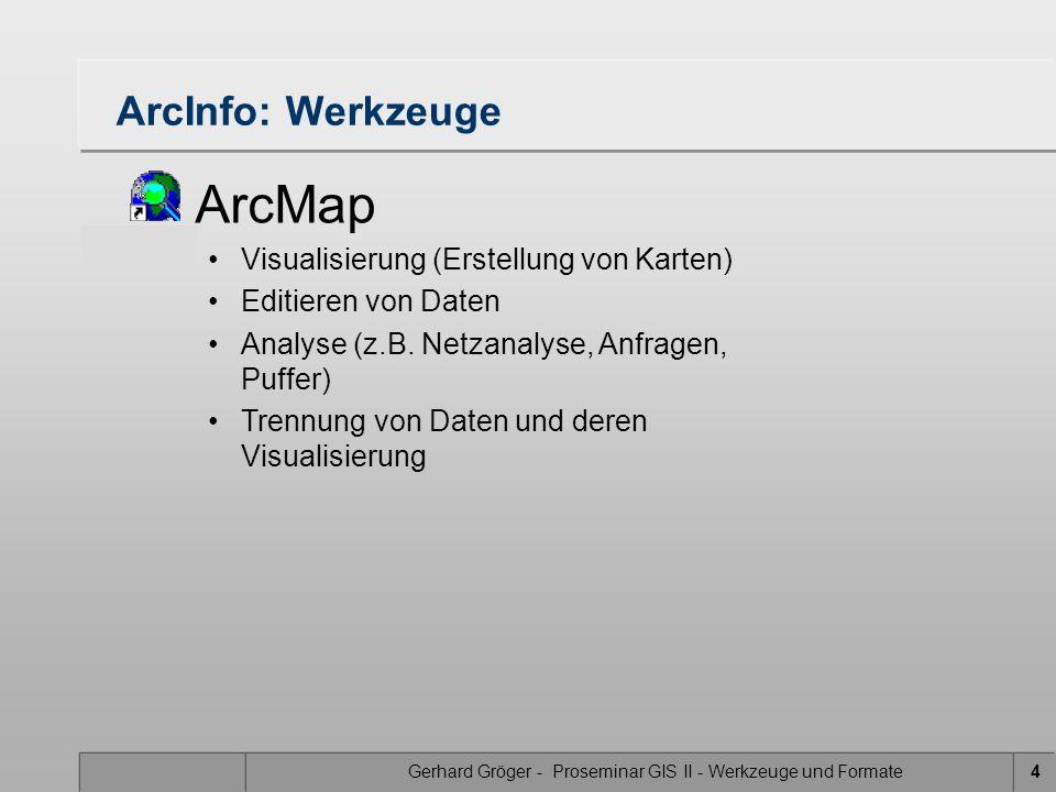 Gerhard Gröger - Proseminar GIS II - Werkzeuge und Formate4 ArcInfo: Werkzeuge ArcMap Visualisierung (Erstellung von Karten) Editieren von Daten Analyse (z.B.