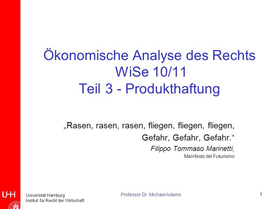 """Universität Hamburg Institut für Recht der Wirtschaft Professor Dr. Michael Adams1 Ökonomische Analyse des Rechts WiSe 10/11 Teil 3 - Produkthaftung """""""