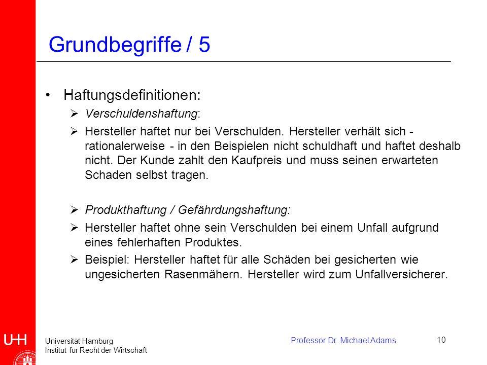 Universität Hamburg Institut für Recht der Wirtschaft Professor Dr. Michael Adams10 Grundbegriffe / 5 Haftungsdefinitionen:  Verschuldenshaftung:  H