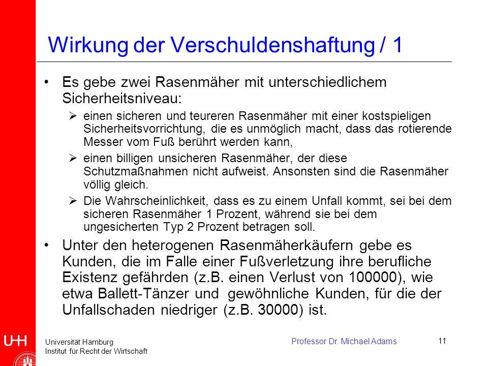 Universität Hamburg Institut für Recht der Wirtschaft Professor Dr. Michael Adams11 Wirkung der Verschuldenshaftung / 1 Es gebe zwei Rasenmäher mit un