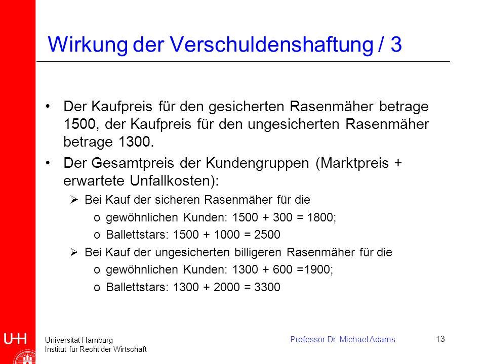Universität Hamburg Institut für Recht der Wirtschaft Professor Dr. Michael Adams13 Wirkung der Verschuldenshaftung / 3 Der Kaufpreis für den gesicher