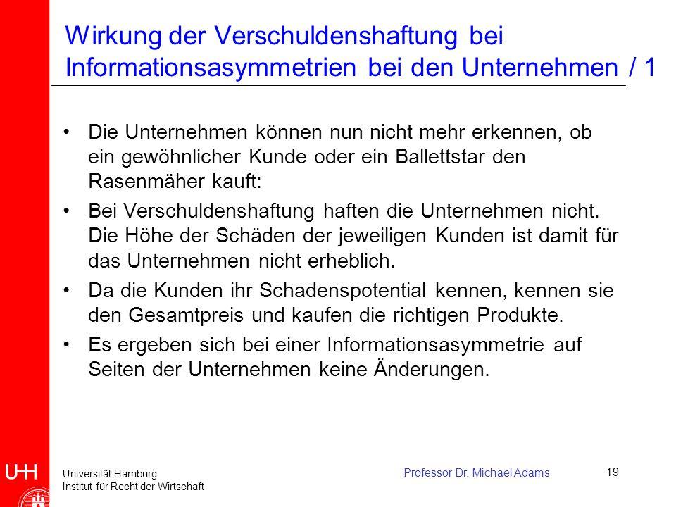 Universität Hamburg Institut für Recht der Wirtschaft Professor Dr. Michael Adams19 Wirkung der Verschuldenshaftung bei Informationsasymmetrien bei de