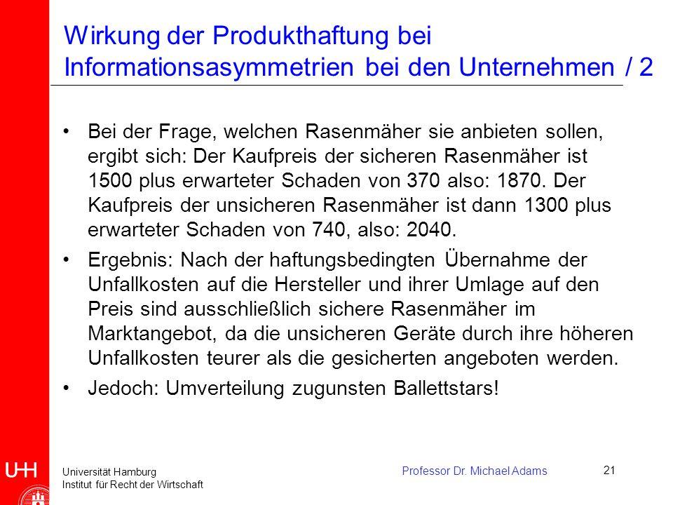 Universität Hamburg Institut für Recht der Wirtschaft Professor Dr. Michael Adams21 Wirkung der Produkthaftung bei Informationsasymmetrien bei den Unt
