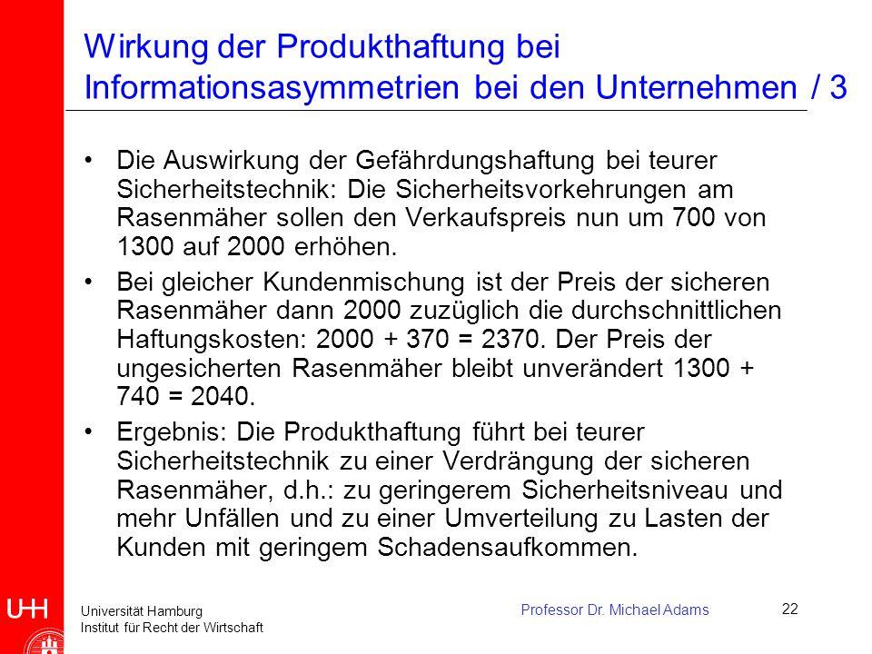 Universität Hamburg Institut für Recht der Wirtschaft Professor Dr. Michael Adams22 Wirkung der Produkthaftung bei Informationsasymmetrien bei den Unt