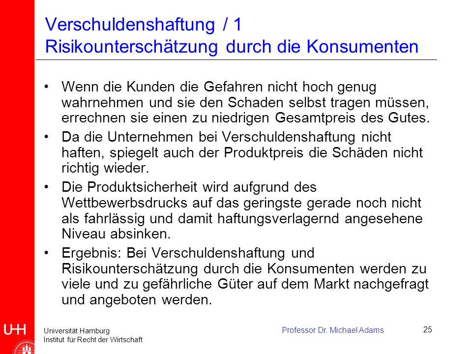 Universität Hamburg Institut für Recht der Wirtschaft Professor Dr. Michael Adams25 Verschuldenshaftung / 1 Risikounterschätzung durch die Konsumenten