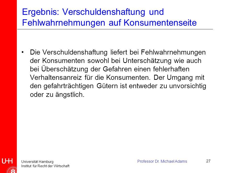 Universität Hamburg Institut für Recht der Wirtschaft Professor Dr. Michael Adams27 Ergebnis: Verschuldenshaftung und Fehlwahrnehmungen auf Konsumente
