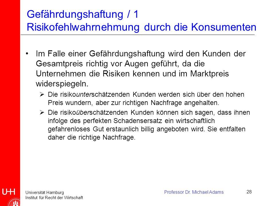 Universität Hamburg Institut für Recht der Wirtschaft Professor Dr. Michael Adams28 Gefährdungshaftung / 1 Risikofehlwahrnehmung durch die Konsumenten