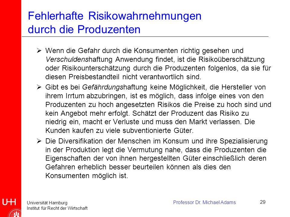 Universität Hamburg Institut für Recht der Wirtschaft Professor Dr. Michael Adams29 Fehlerhafte Risikowahrnehmungen durch die Produzenten  Wenn die G