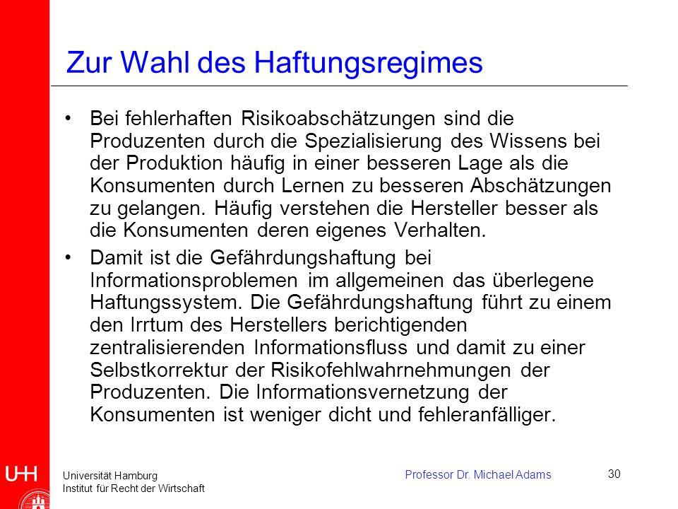 Universität Hamburg Institut für Recht der Wirtschaft Professor Dr. Michael Adams30 Zur Wahl des Haftungsregimes Bei fehlerhaften Risikoabschätzungen