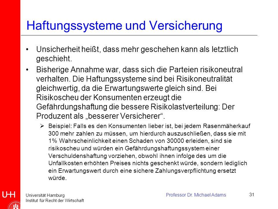 Universität Hamburg Institut für Recht der Wirtschaft Professor Dr. Michael Adams31 Haftungssysteme und Versicherung Unsicherheit heißt, dass mehr ges