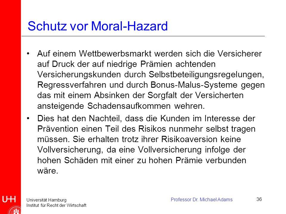 Universität Hamburg Institut für Recht der Wirtschaft Professor Dr. Michael Adams36 Schutz vor Moral-Hazard Auf einem Wettbewerbsmarkt werden sich die