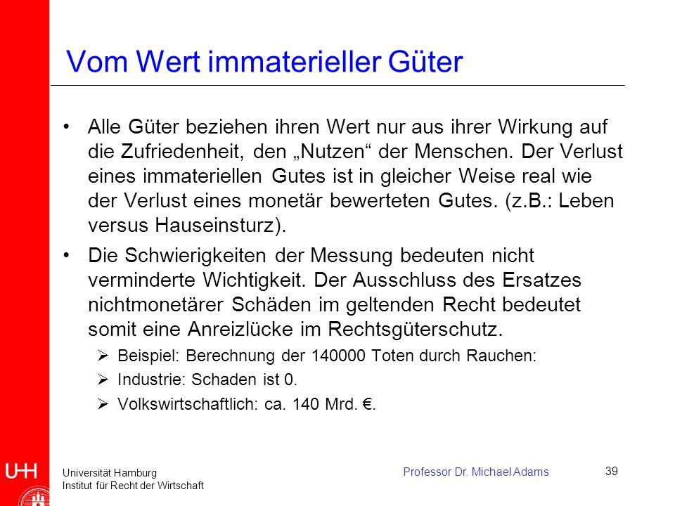 Universität Hamburg Institut für Recht der Wirtschaft Professor Dr. Michael Adams39 Vom Wert immaterieller Güter Alle Güter beziehen ihren Wert nur au