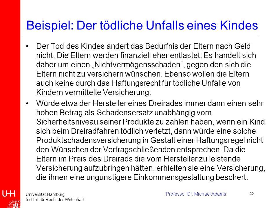 Universität Hamburg Institut für Recht der Wirtschaft Professor Dr. Michael Adams42 Beispiel: Der tödliche Unfalls eines Kindes Der Tod des Kindes änd