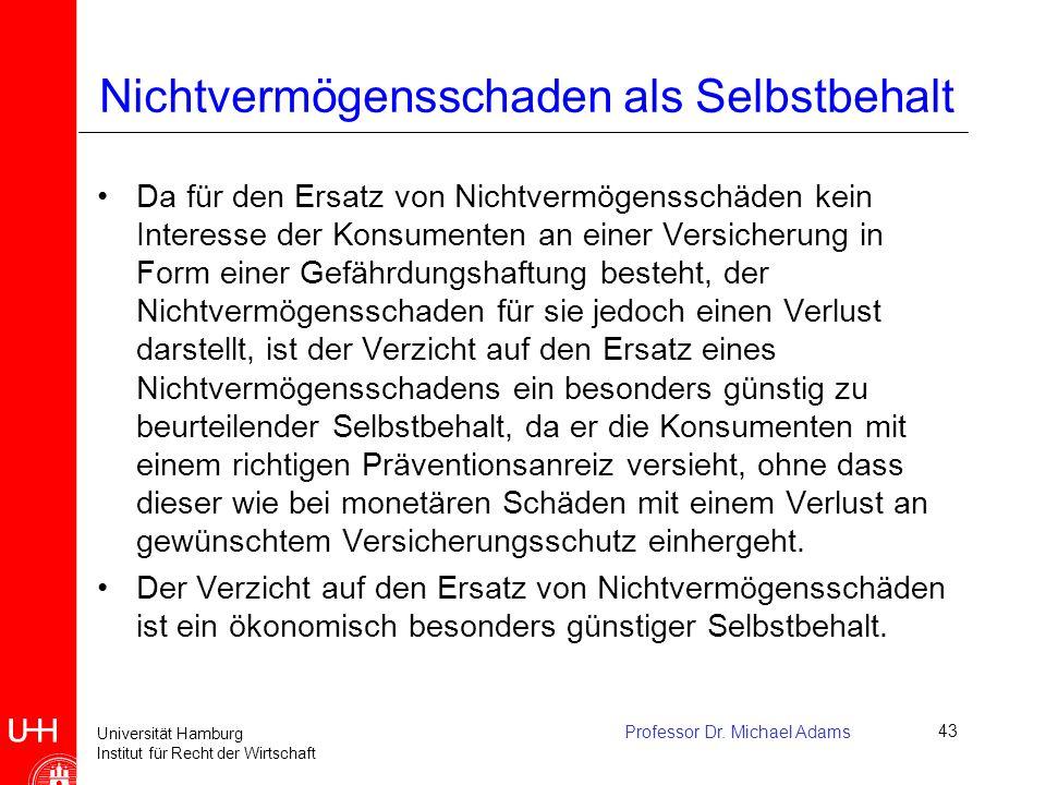 Universität Hamburg Institut für Recht der Wirtschaft Professor Dr. Michael Adams43 Nichtvermögensschaden als Selbstbehalt Da für den Ersatz von Nicht