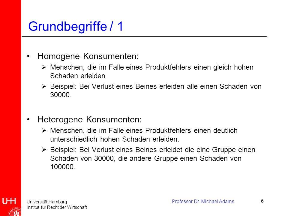 Universität Hamburg Institut für Recht der Wirtschaft Professor Dr. Michael Adams6 Grundbegriffe / 1 Homogene Konsumenten:  Menschen, die im Falle ei