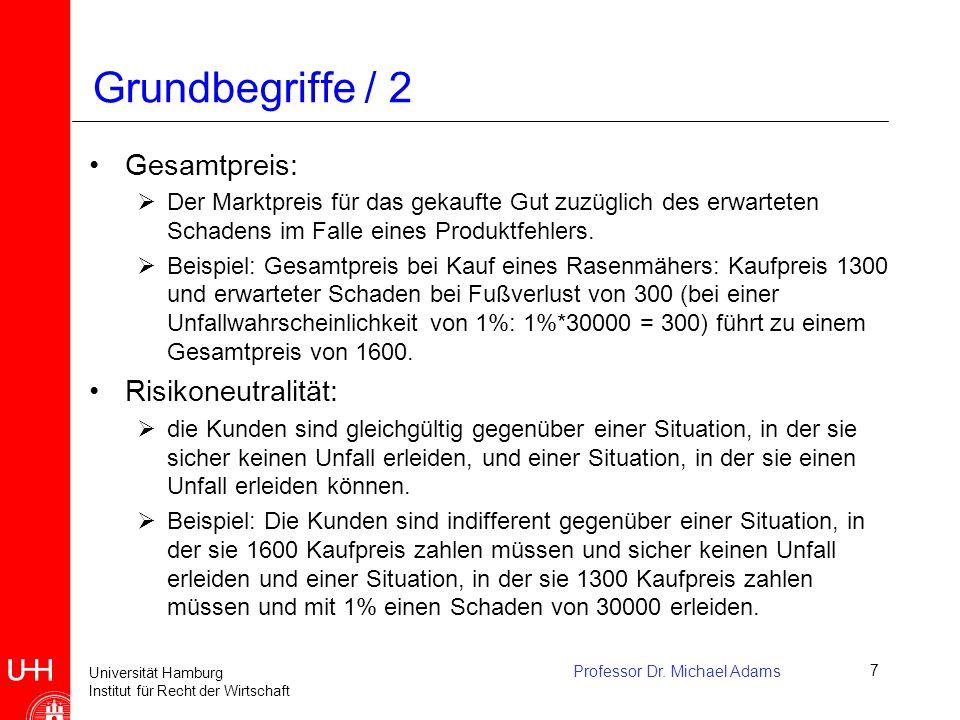 Universität Hamburg Institut für Recht der Wirtschaft Professor Dr. Michael Adams7 Grundbegriffe / 2 Gesamtpreis:  Der Marktpreis für das gekaufte Gu
