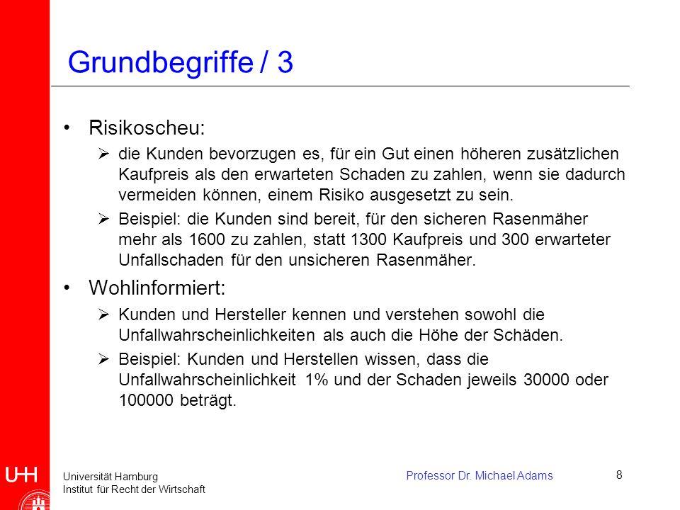 Universität Hamburg Institut für Recht der Wirtschaft Professor Dr. Michael Adams8 Grundbegriffe / 3 Risikoscheu:  die Kunden bevorzugen es, für ein