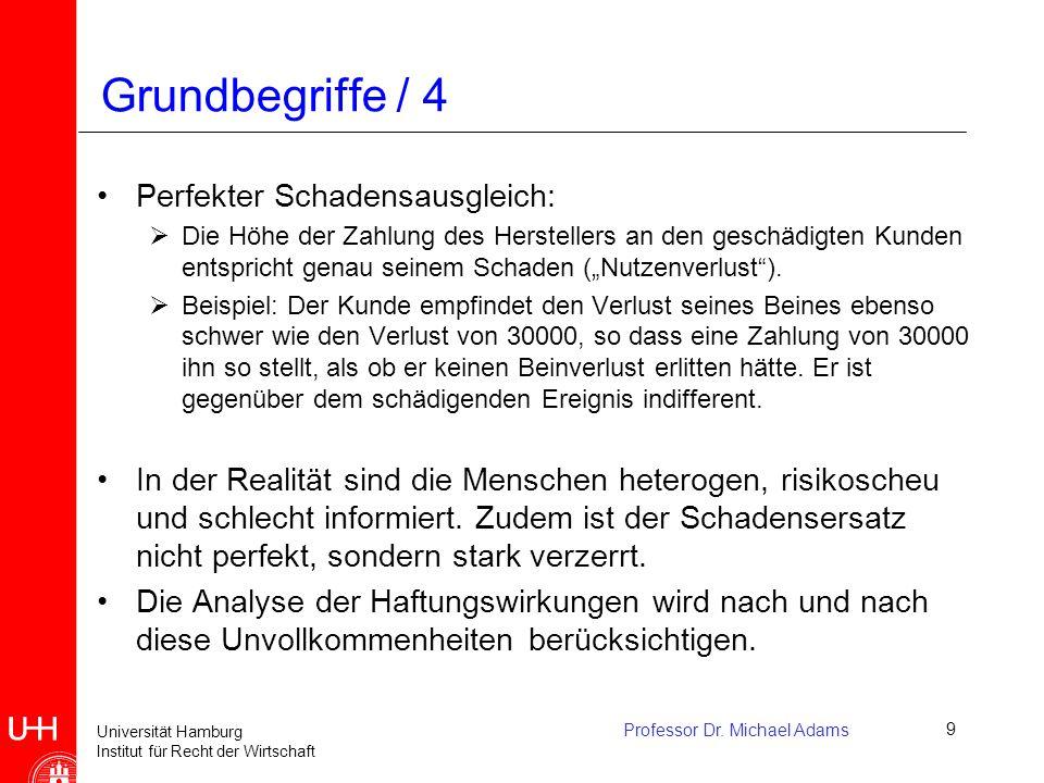 Universität Hamburg Institut für Recht der Wirtschaft Professor Dr. Michael Adams9 Perfekter Schadensausgleich:  Die Höhe der Zahlung des Herstellers