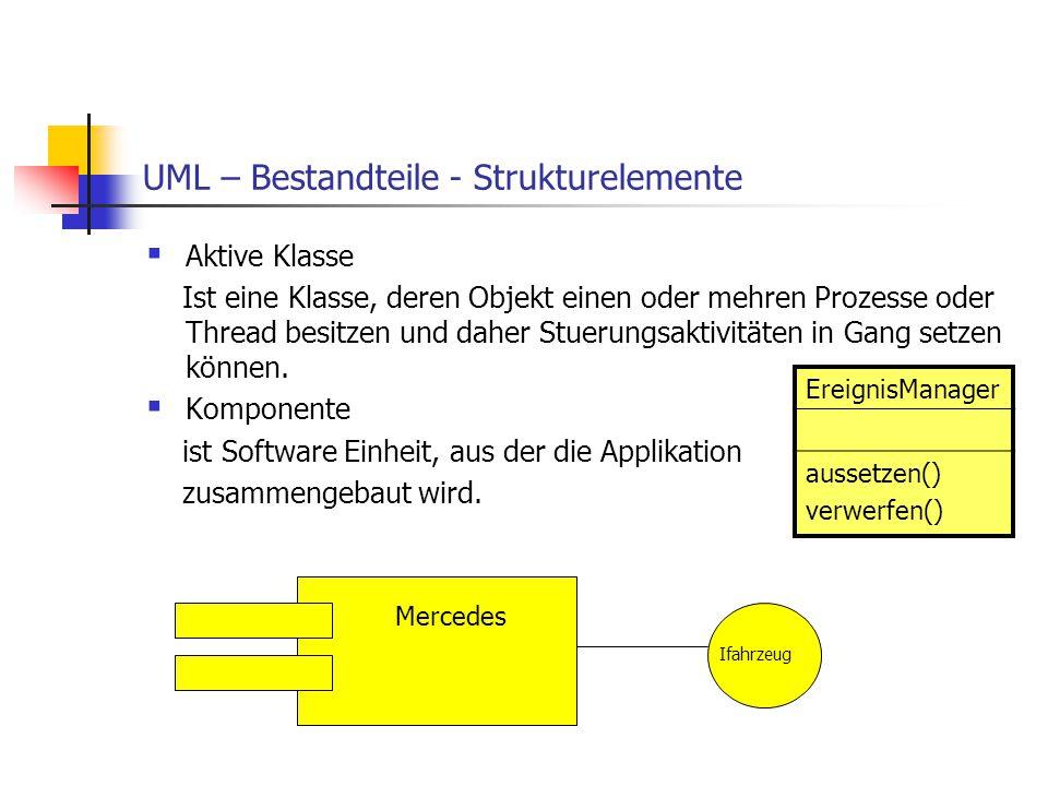 UML – Bestandteile - Strukturelemente  Aktive Klasse Ist eine Klasse, deren Objekt einen oder mehren Prozesse oder Thread besitzen und daher Stuerung