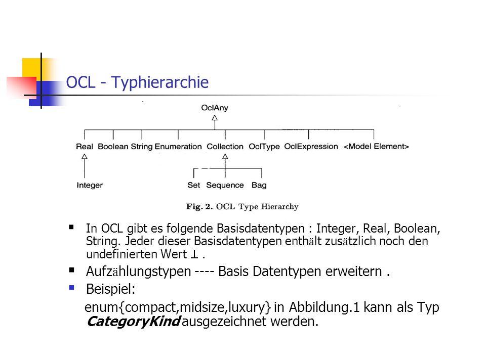 OCL - Typhierarchie  In OCL gibt es folgende Basisdatentypen : Integer, Real, Boolean, String. Jeder dieser Basisdatentypen enth ä lt zus ä tzlich no