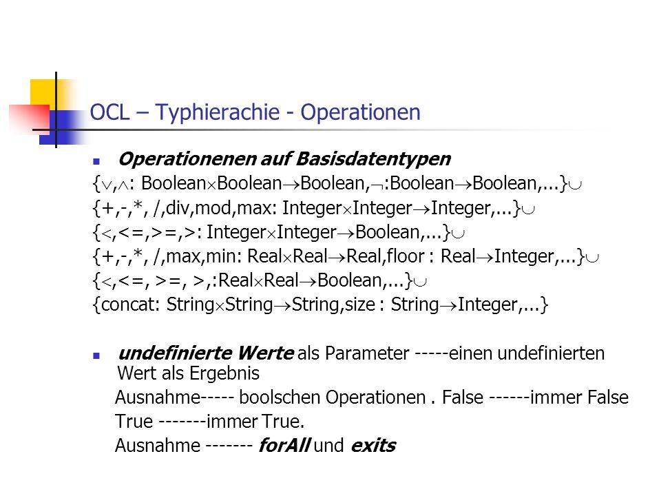 OCL – Typhierachie - Operationen Operationenen auf Basisdatentypen { ,  : Boolean  Boolean  Boolean,  :Boolean  Boolean,...}  {+,-,*, /,div,mod