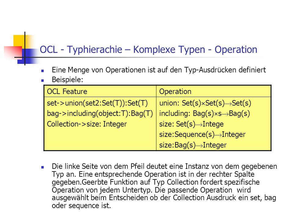 OCL - Typhierachie – Komplexe Typen - Operation Eine Menge von Operationen ist auf den Typ-Ausdr ü cken definiert Beispiele: Die linke Seite von dem P