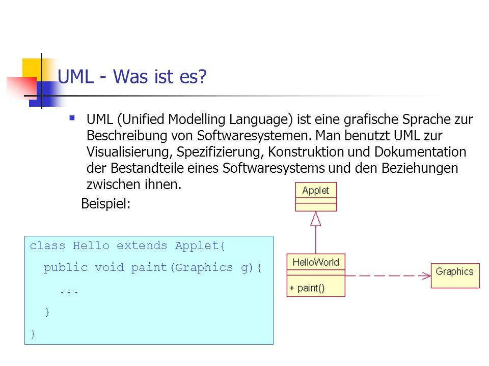 UML - Was ist es?  UML (Unified Modelling Language) ist eine grafische Sprache zur Beschreibung von Softwaresystemen. Man benutzt UML zur Visualisier