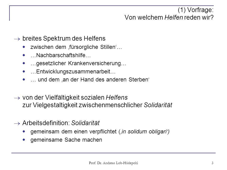 Prof. Dr. Andreas Lob-Hüdepohl 3 (1) Vorfrage: Von welchem Helfen reden wir.