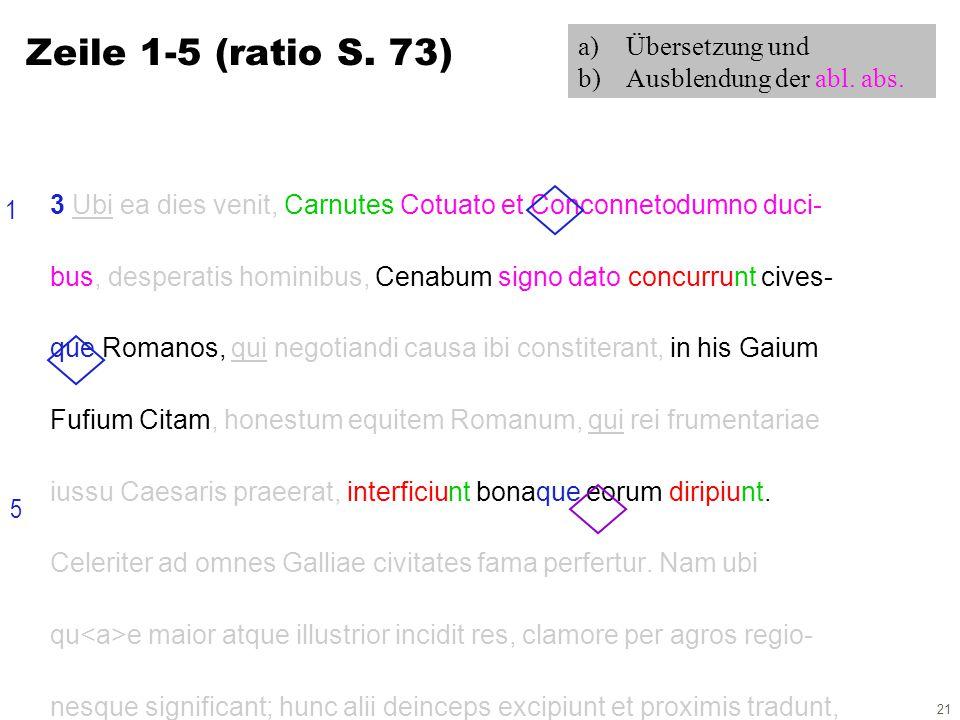 21 3 Ubi ea dies venit, Carnutes Cotuato et Conconnetodumno duci- bus, desperatis hominibus, Cenabum signo dato concurrunt cives- que Romanos, qui negotiandi causa ibi constiterant, in his Gaium Fufium Citam, honestum equitem Romanum, qui rei frumentariae iussu Caesaris praeerat, interficiunt bonaque eorum diripiunt.