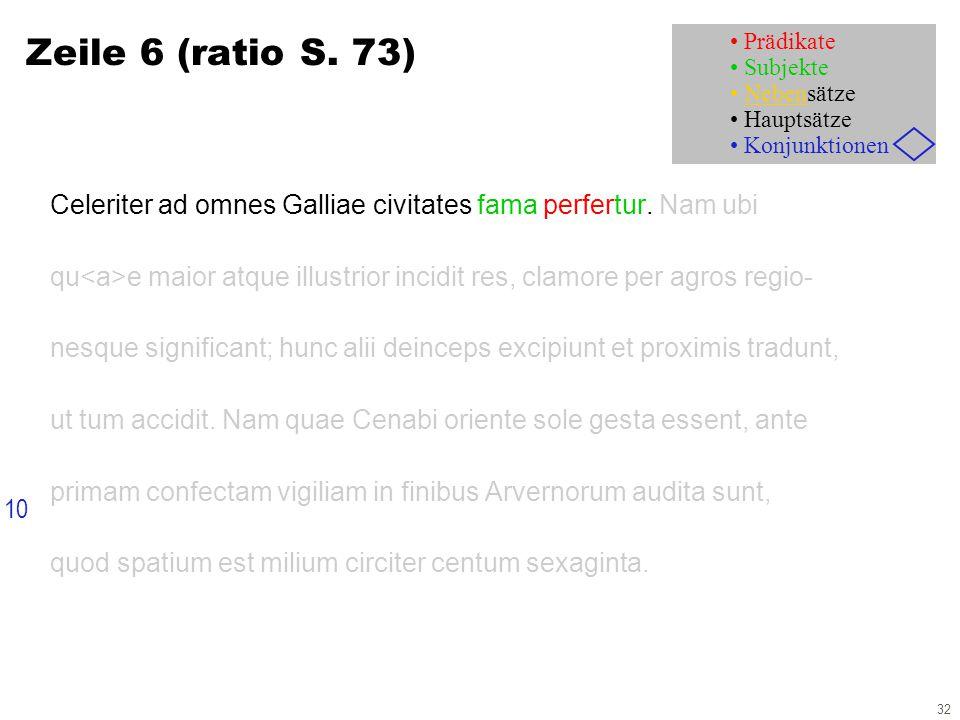32 Zeile 6 (ratio S. 73) Celeriter ad omnes Galliae civitates fama perfertur.