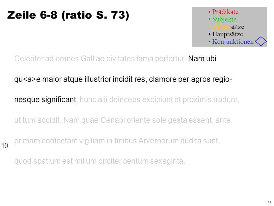 35 Zeile 6-8 (ratio S. 73) Celeriter ad omnes Galliae civitates fama perfertur.
