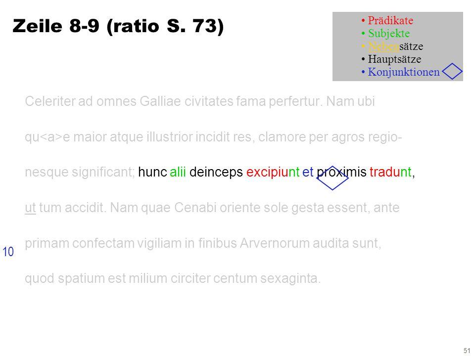 51 Zeile 8-9 (ratio S. 73) Celeriter ad omnes Galliae civitates fama perfertur.