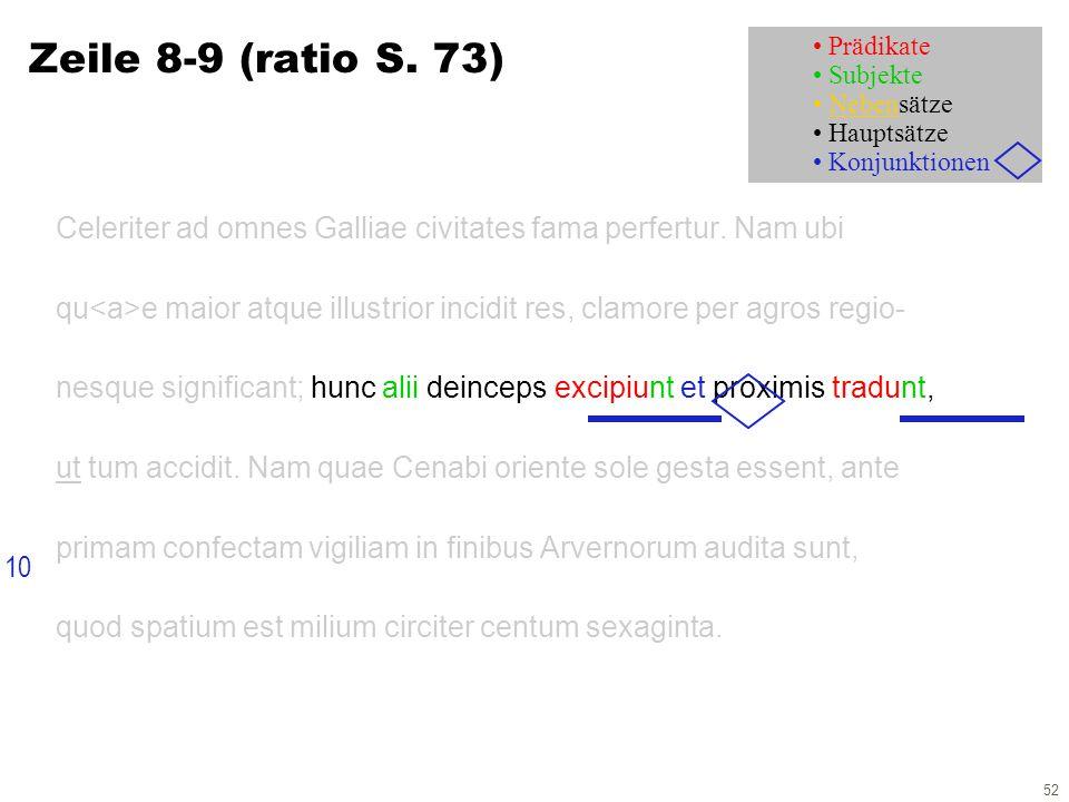 52 Zeile 8-9 (ratio S. 73) Celeriter ad omnes Galliae civitates fama perfertur.