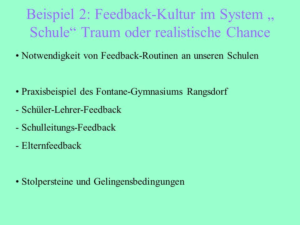 """Beispiel 2: Feedback-Kultur im System """" Schule"""" Traum oder realistische Chance Notwendigkeit von Feedback-Routinen an unseren Schulen Praxisbeispiel d"""