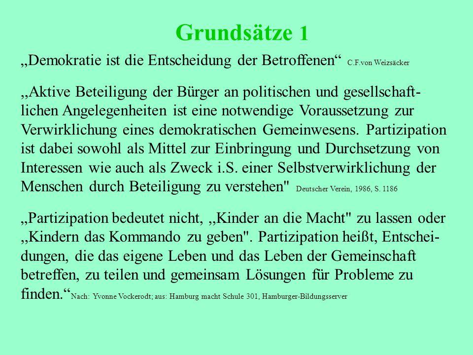 """Grundsätze 1 """"Demokratie ist die Entscheidung der Betroffenen C.F.von Weizsäcker,,Aktive Beteiligung der Bürger an politischen und gesellschaft- lichen Angelegenheiten ist eine notwendige Voraussetzung zur Verwirklichung eines demokratischen Gemeinwesens."""