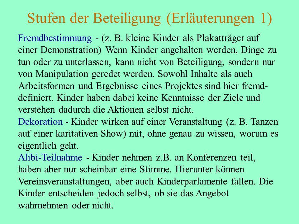 Stufen der Beteiligung (Erläuterungen 1) Fremdbestimmung - (z.